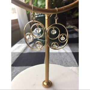 EXPRESS Gold Oval Dangly Rhinestone Earrings